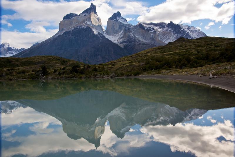 Patagonia 2009 - Cuernos de Paine reflected laguna near lago Nordenskjold