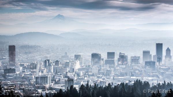 Misty Morning Mountain Cityscape - Portland