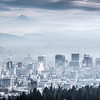 Misty Morning Mountain Cityscape - Portland
