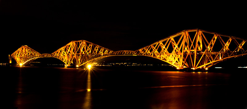 Night shot of the FIrth of Forth Bridge near Edinburgh