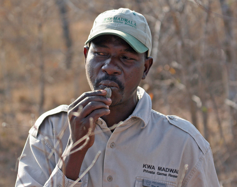 """Our local guide demonstrating his """"whistle"""""""