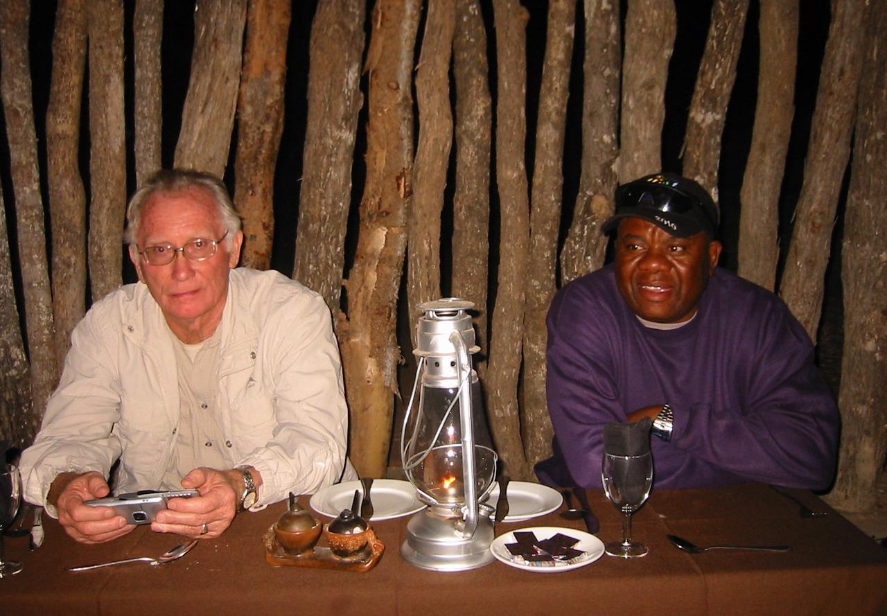Boma - Manyatta Rock Camp - Fairfield Tour guide Hannes Visser and driver Dom