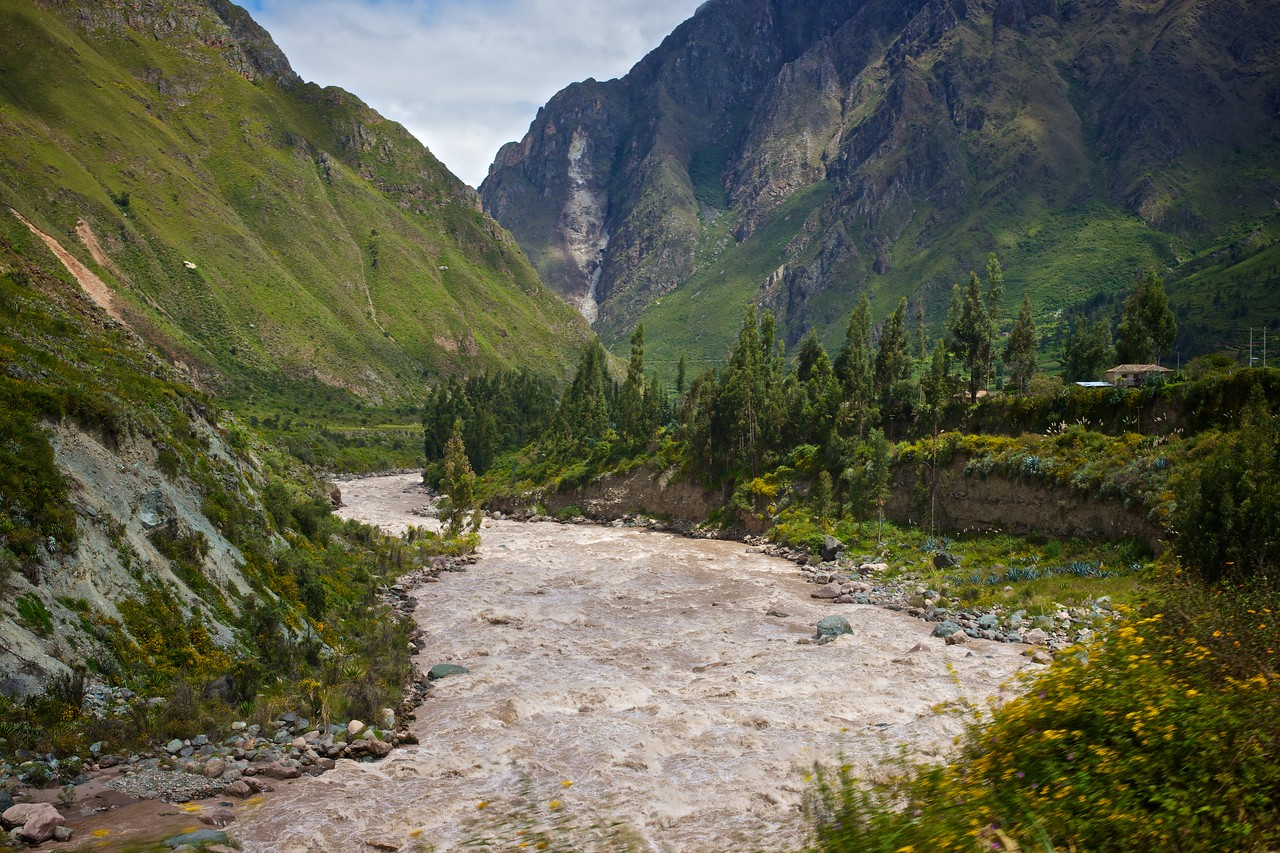 The Urabamba River as it courses through the valley leading to the Machu Picchu ruins.