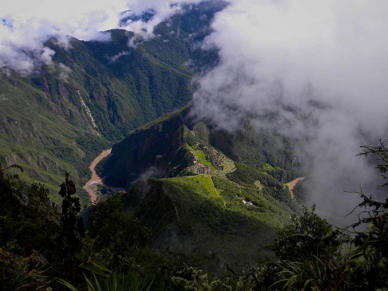 Another view looking down from Machu Picchu the mountain.