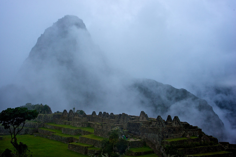Huyana Picchu partially hidden by clouds