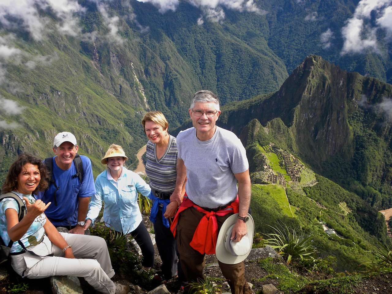 Here we are at the summit with Huyana Picchu and the Archeao site behind us.