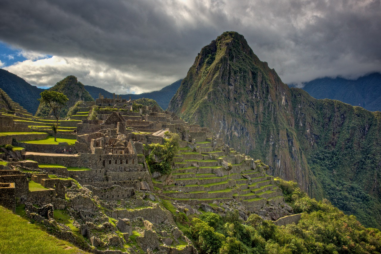 Looking along the saddle between Mchu  Picchu mountain and Huyana Picchu, where the Sanctuario Historico was constructed, towards Huyana Picchu.