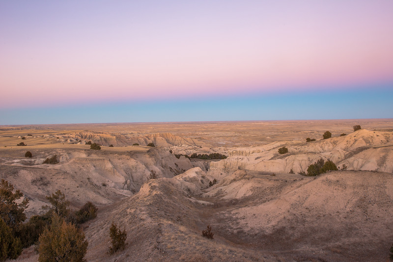 Badlands at twilight