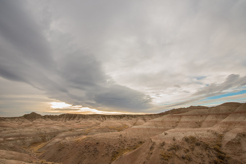 Gray clouds in the Badlands
