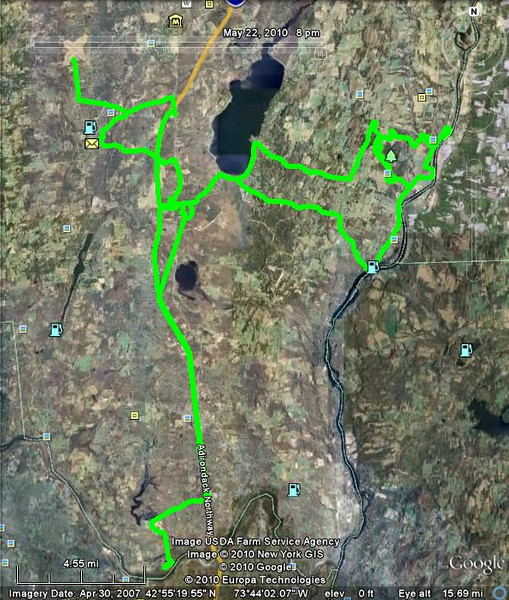 birding route, saratoga county, 22 may 2010