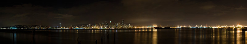 Seattle Night Harbor Waterfront