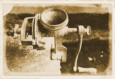 Antique Coffee Grinder, San Sebastion de Oeste, Mexico (sepia)
