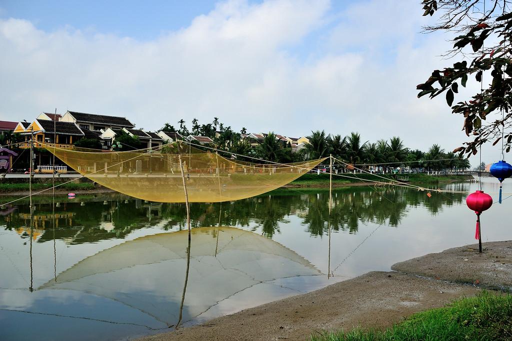 Fishing net on river