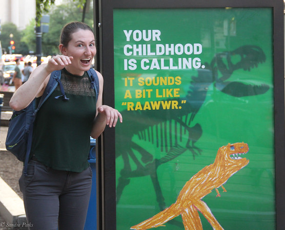 Cecelia's excited about the dinosaurs