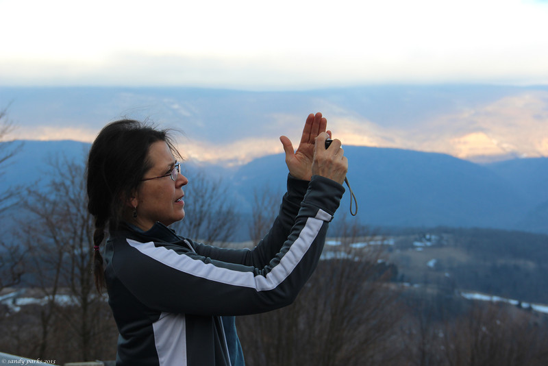 Kathy lines up a shot -- above Germany Valley