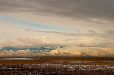 oquirrh mountains from farmington waterfowl management area, utah