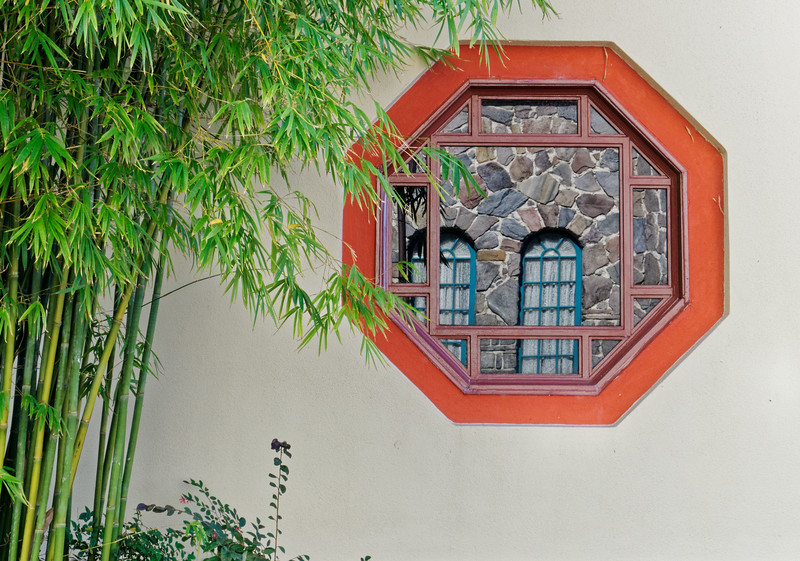 Window reflection, China Pavilion at Epcot