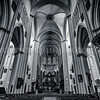 Inside of the cathedral Saint-Sauveur at Bruges in B/W