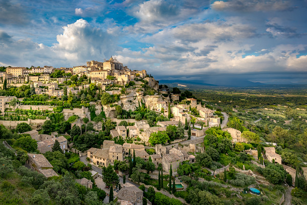 Gordes city in  the Luberon district in B/W.
