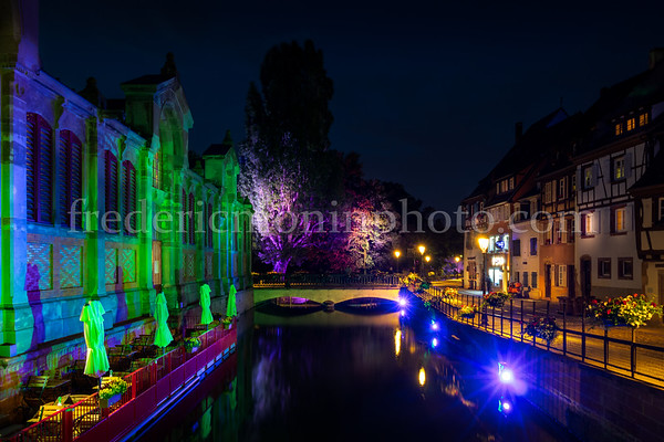 """Lights on the """"Petite Venise"""" district at Colmar."""