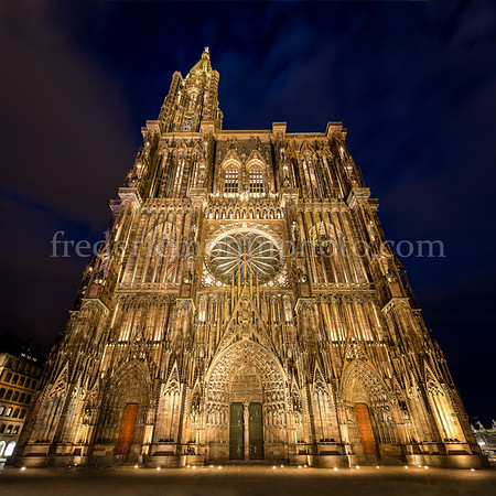 Cathedral Notre Dame of Strasbourg by night