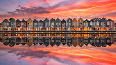 Colorful wooden houses at Houten (Netherlands)
