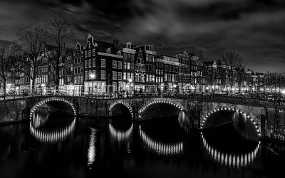 Channels by night in B/W at Amsterdam