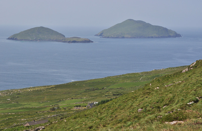 Looking south toward the islands of Deenish (left) and Scariff from a scenic overlook at Beenearouke Pass along the Ring of Kerry in Kerry, Ireland
