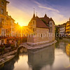 Sunset on the Palace of the island in Annecy