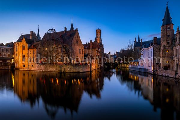 Blue hour on the Dijver channel in Bruges