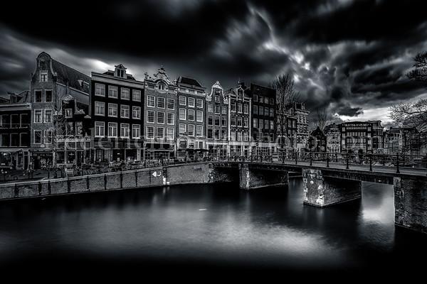 Leliesluis bridge on the Prinsensluis channel at Amsterdam in B/W ...
