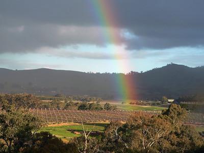 Rainbow over vineyard in Barossa Valley, Australia.