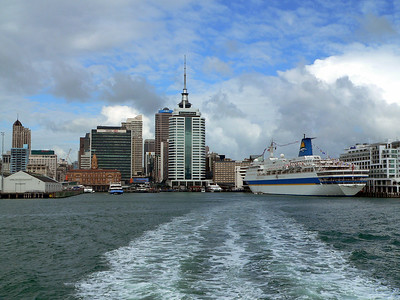 View of Auckland, New Zealand from the ferry. Panasonic FZ20.