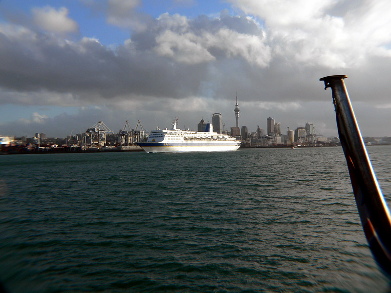 View of Auckland, New Zealand from the back of the ferry.