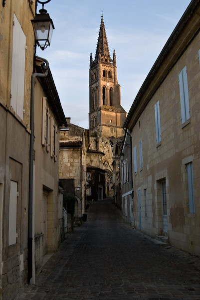 Morning light on cathedral in St. Emilion.