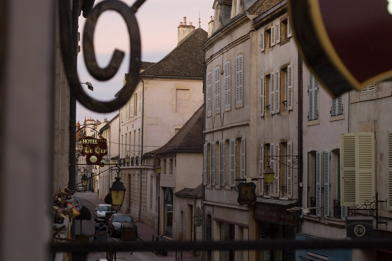 Early morning view from hotel in Beaune, Burgundy.