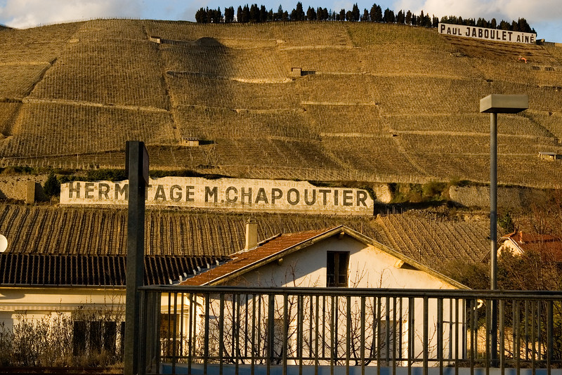 Hermitage vineyards drop into the city of Tain l'Hermitage in the northern Rhone Valley.