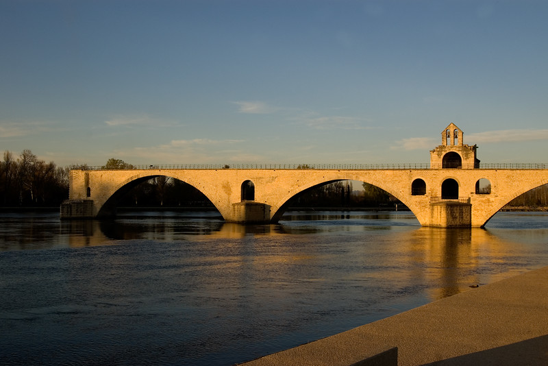Remains of the bridge Pont d'Avignon that was bombed in World War II.