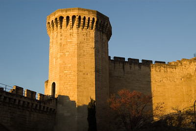 Wall and guard tower around Avignon.