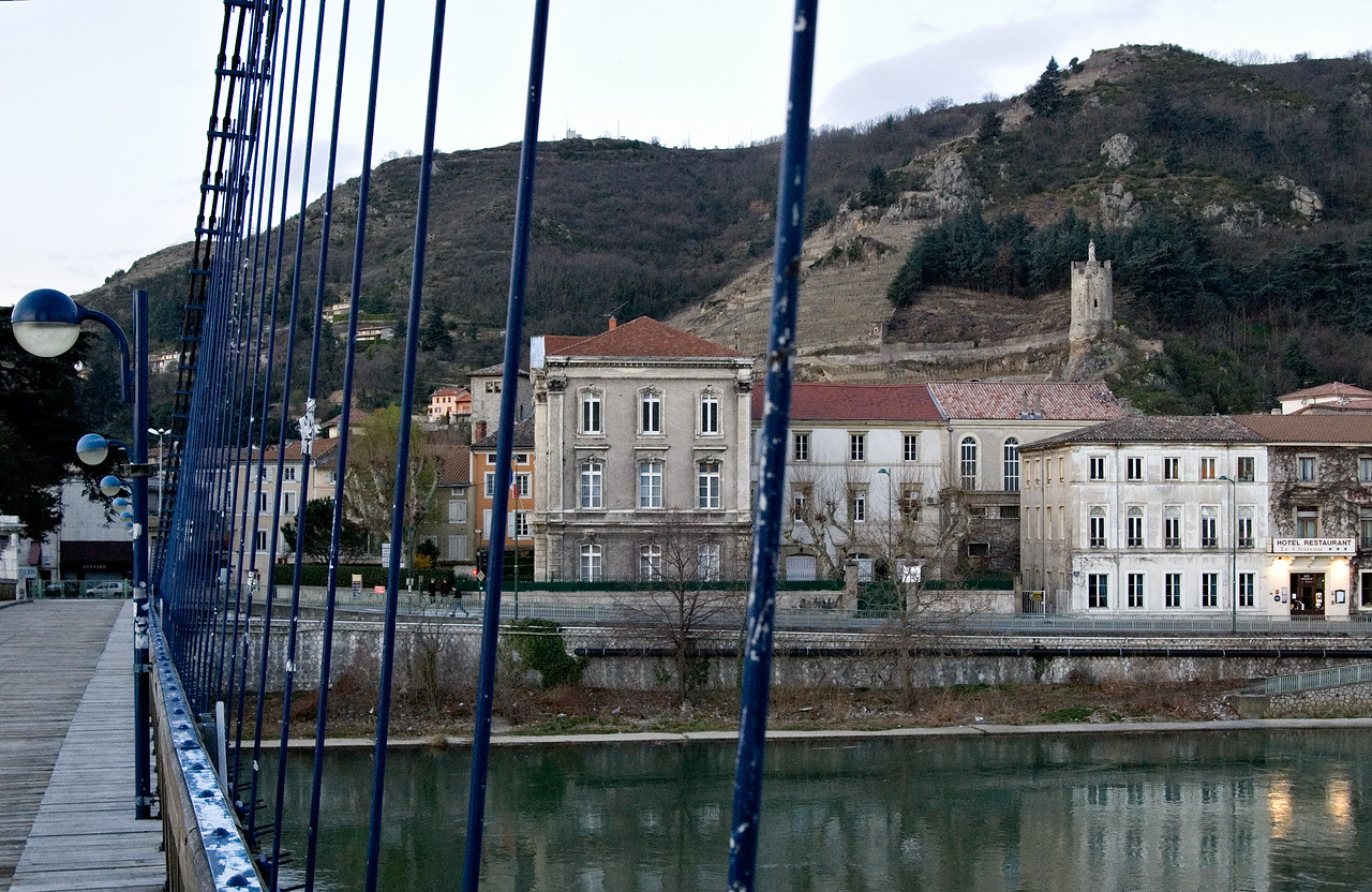 Tournon as seen in early morning coming from the Tain l'Hermitage side.