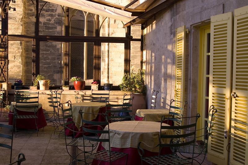 Outside patio of three star restaurant, CHRISTIAN EITIENNE, in Avignon, France.