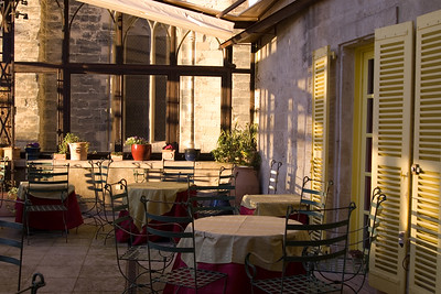 Outside patio of three star restaurant, CHRISTIAN EITIENNE, in Avignon, France.