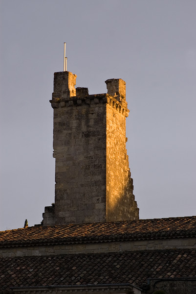 Evening light on rooftop in St. Emilion.