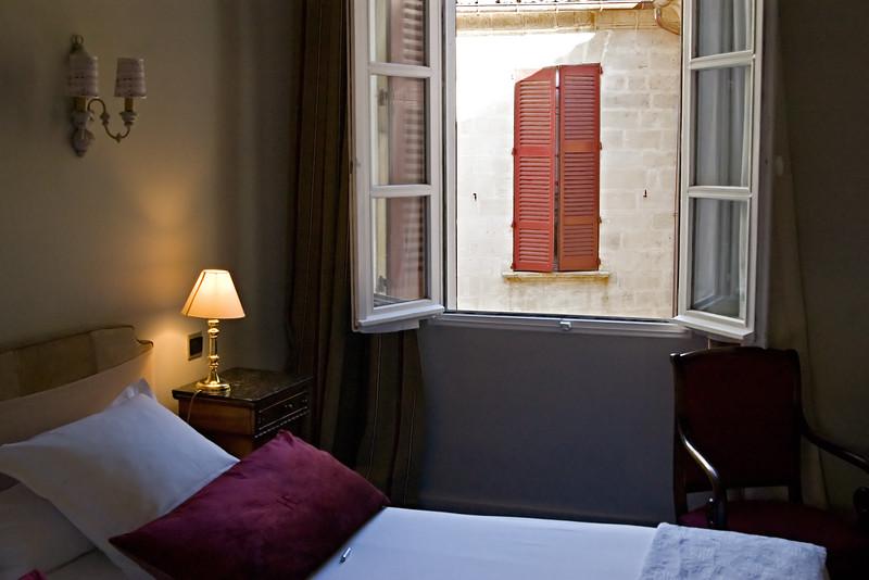 Hotel room in Hotel d'Europe in Avignon.