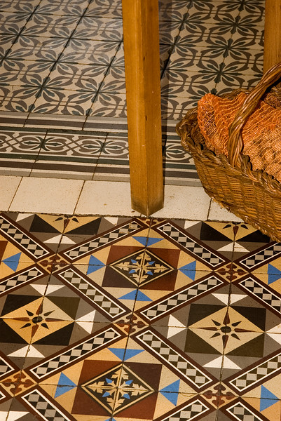 Tile on the floor of the Geoffray residence in Brouilly, Beaujolais.
