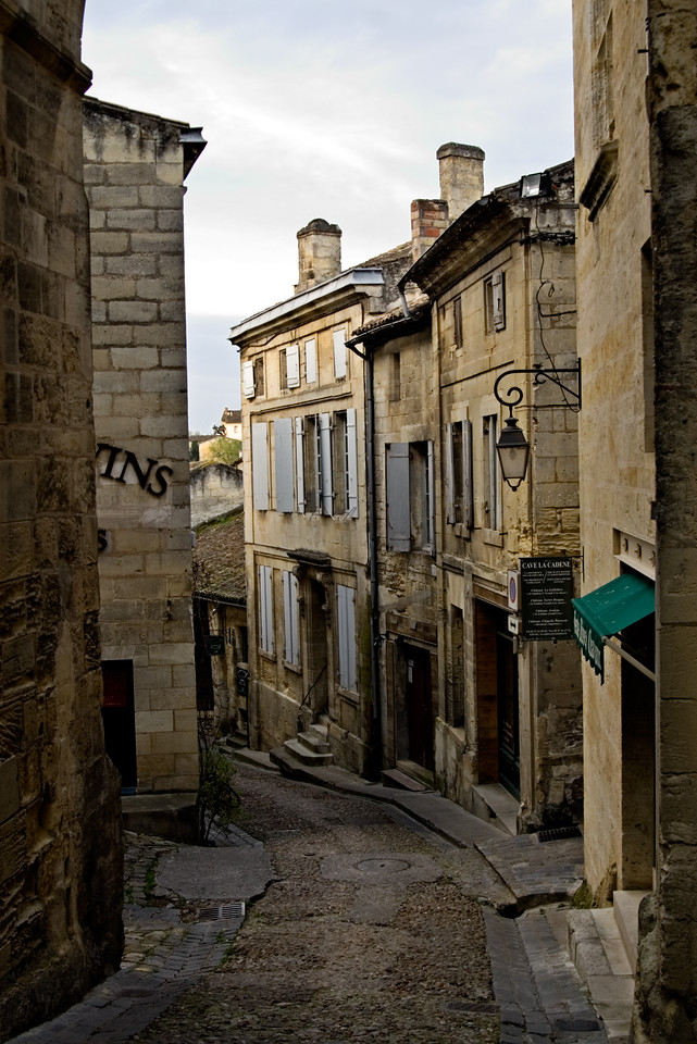 Early morning streets of St. Emilion, France.