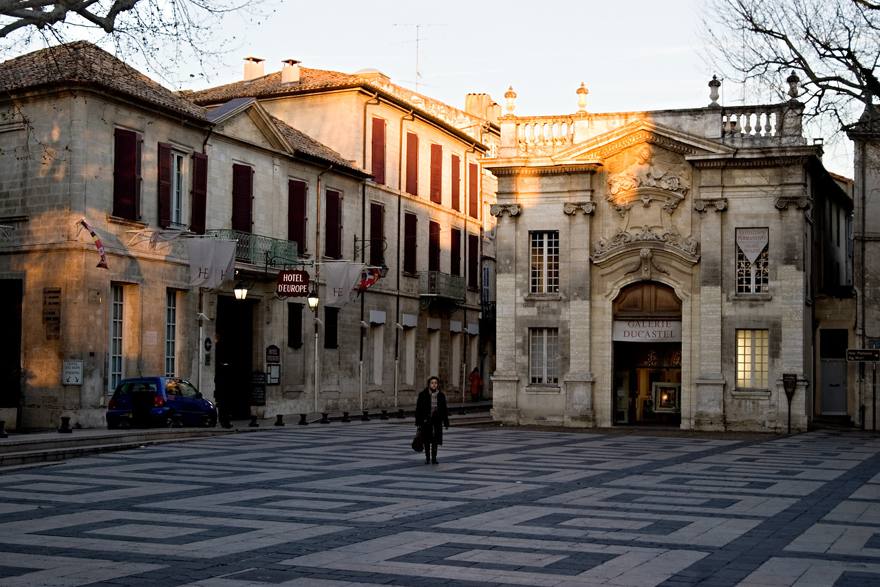 A plaza at dusk in Avignon.
