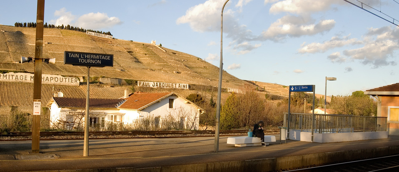 Train station in Tain l'Hermitage in the northern Rhone Valley.