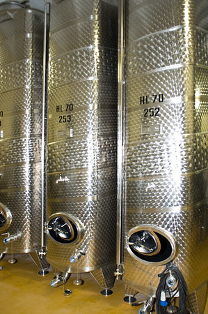Steel fermentation tanks for wine