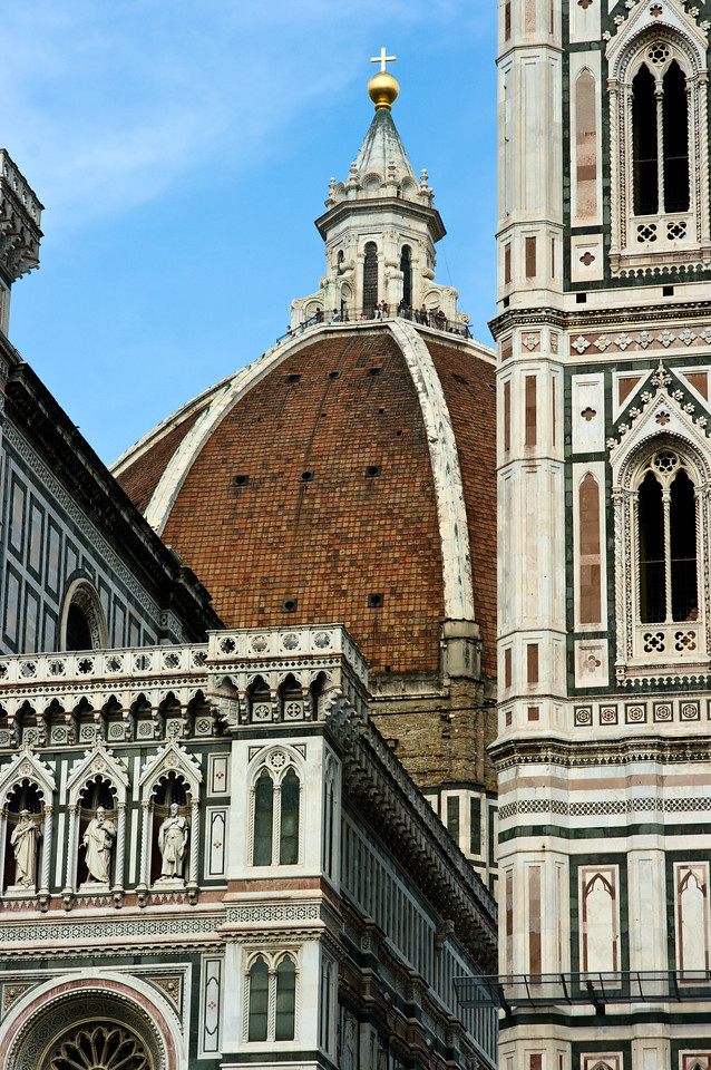 Duomo roof top and church in Florence, Italy.